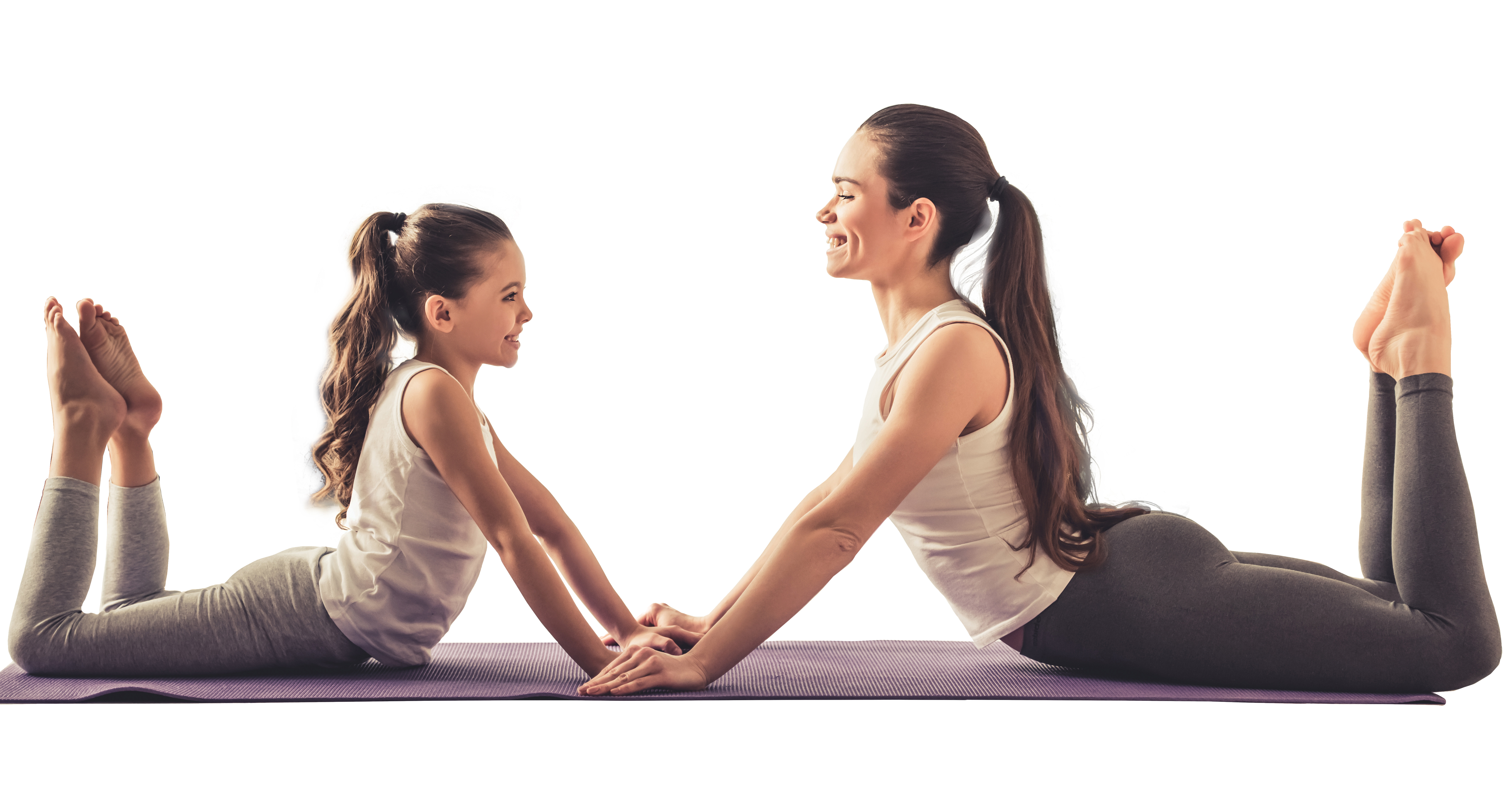 Mom and Daughter practicing yoga together