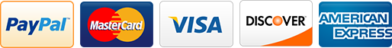 Payment Types Accepted - PayPal, MasterCard, Visa, Discover, American Express